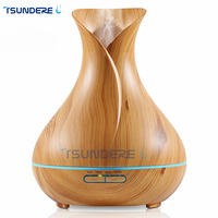 TSUNDERE L 400ml Aroma Essential Oil Diffuser Ultrasonic Aromatherapy Mist Air Humidifier With Wood Grain And
