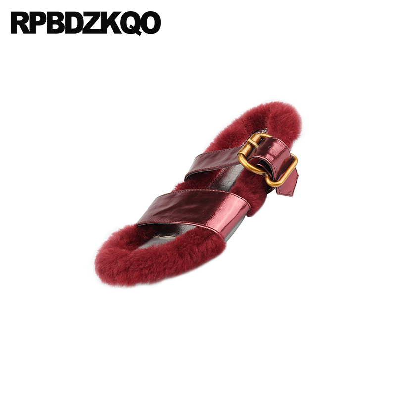 7b993b13e07 ... Cute Designer Gold Sandals Embellished Women Slippers Kawaii Luxury  Slides Cheap Fur Strap Furry Flat Fluffy ...