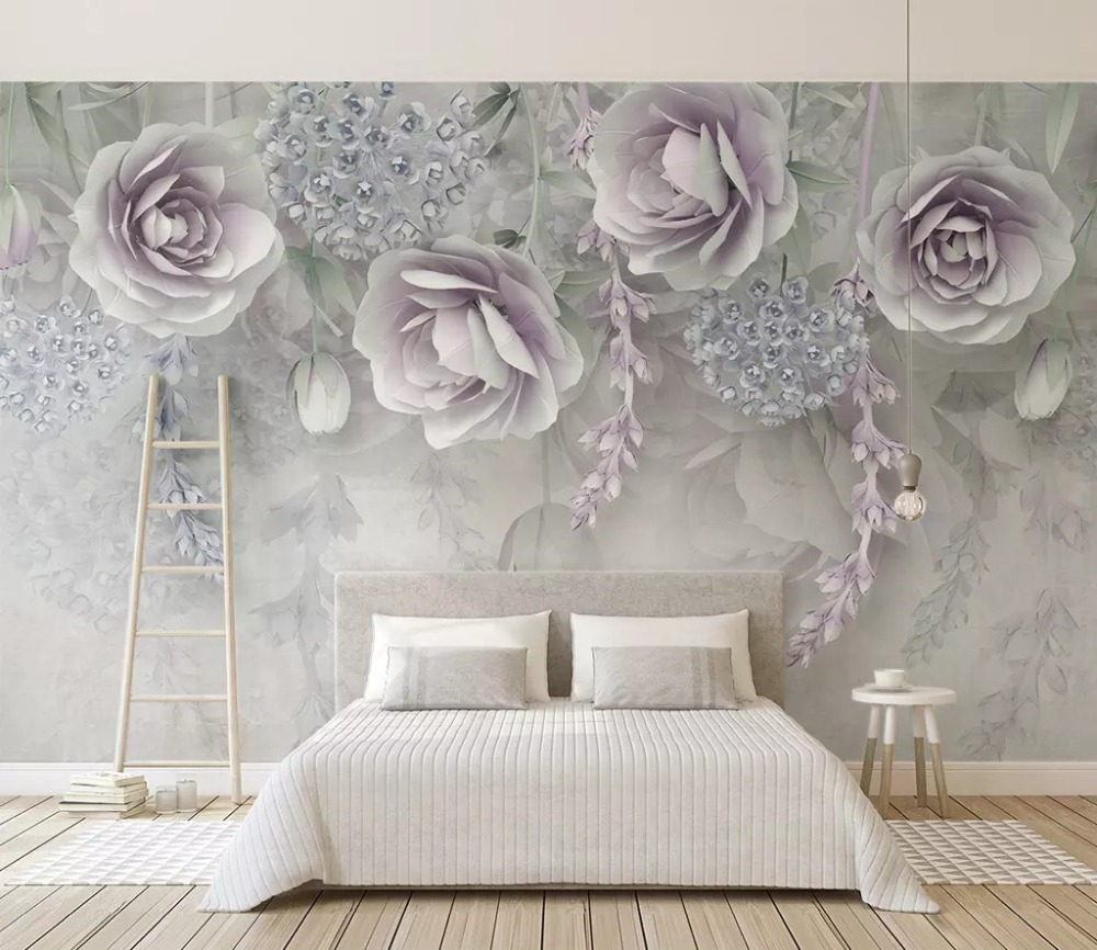 Beibehang Customized 2019 New Lavender Flower 3d Embossed Tv