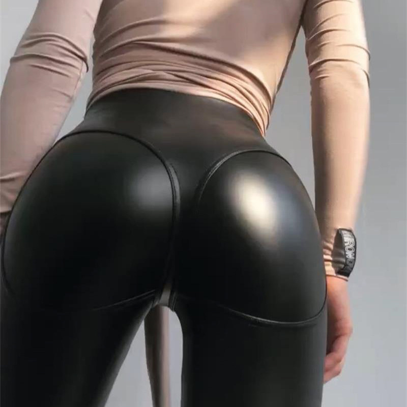 Fashion Faux Leather Leggings Sexy Hips Women Push Up Black Leggings PU Leather Summer Clothes Calzas Mujer Leggins Women Pants