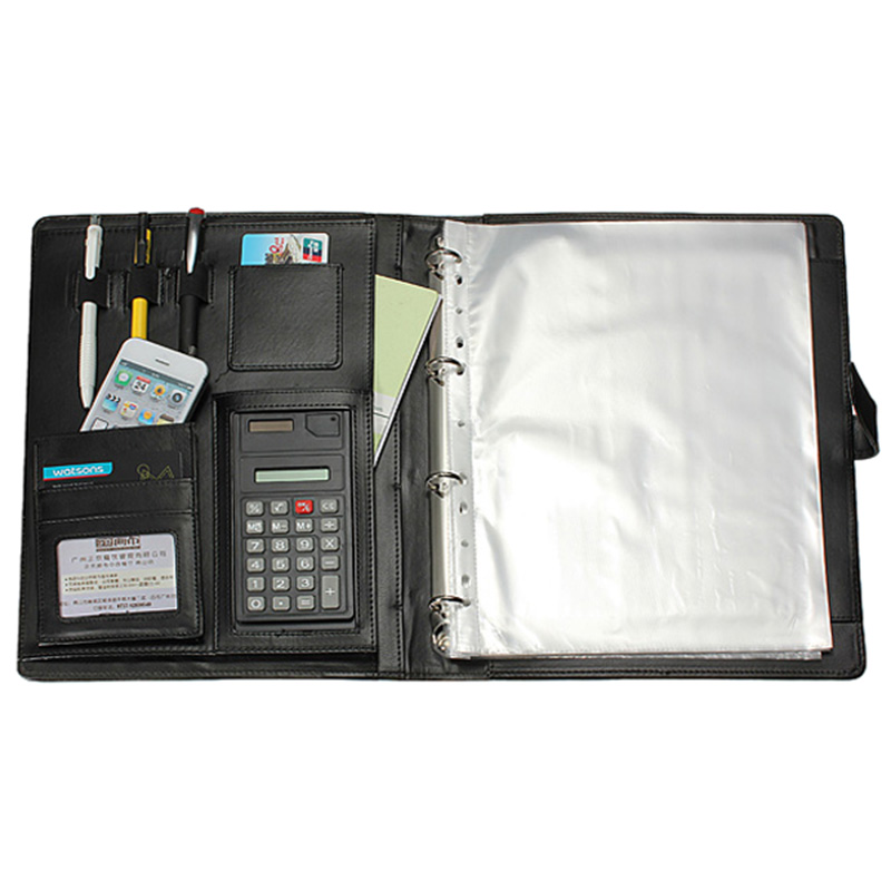 Black A4 Executive Conference Folder Portfolio PU Leather Document Organiser Multifunction File Folder Office School Supply kicute executive conference folder pu portfolio zipped leather look folder document organiser document holder office supplies