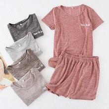 Sommer Frauen Pyjamas Baumwolle Slacker Kettenspannung Casual kurzarm Shorts Nachtwäsche Feste Dünne Pijamas Loungewear Plus Größe Hause Kleidung