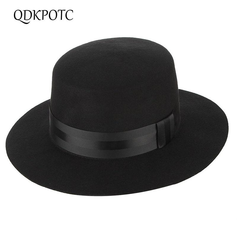 QDKPOTC Autumn Winter High Quality Wide Brim Fedoras Men Jazz Hat Black Flat Brim Felt Cap Wool For Fashion Women Jewish Hat