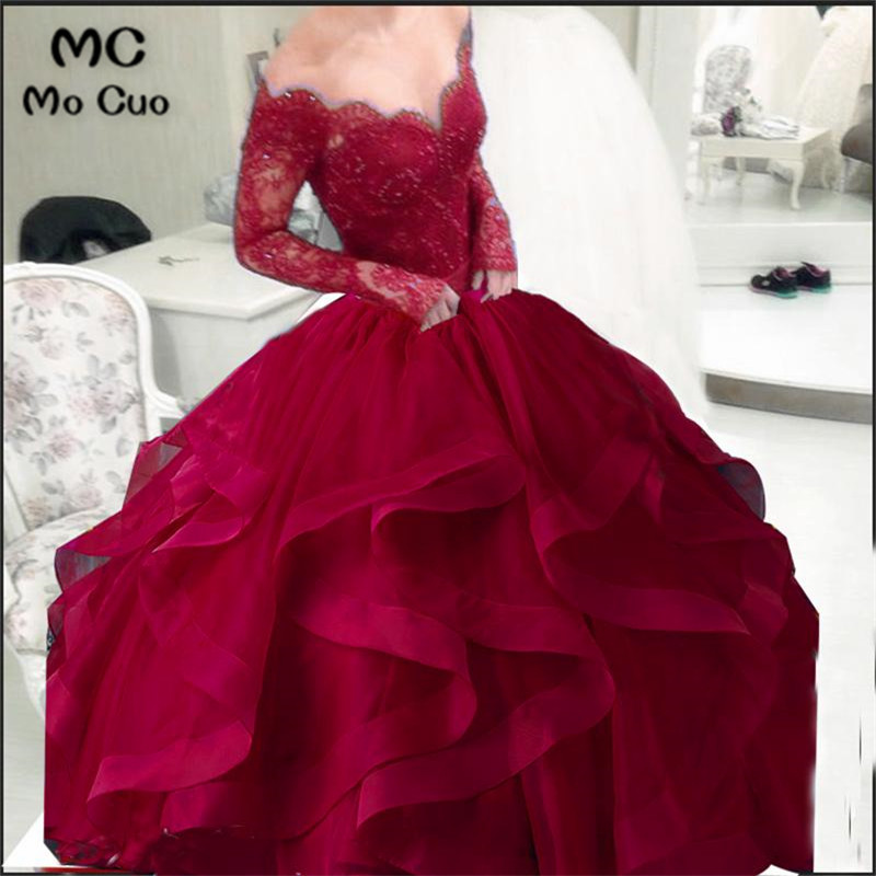2018 Long Sleeve   Prom     dresses   Long V-Neck Appliques Beaded Organza Ruffles graduation   dresses   Evening   Prom     Dress   for Women