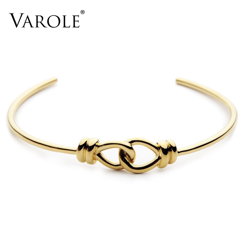 VAROLE Both Way Knotting Chokers Gold Color Stainless Steel Necklaces Personalized for Women Collar Trendy Jewelry Collier