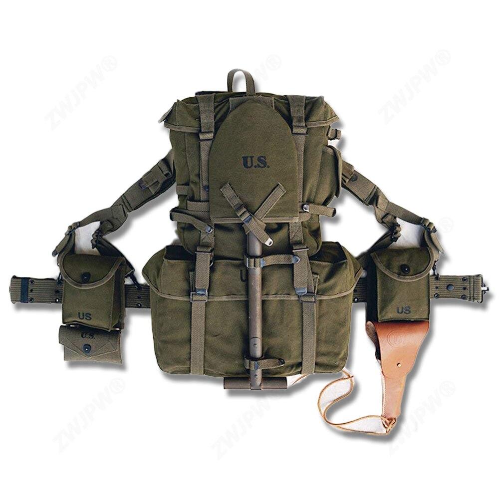 Réplique WW2 ensemble de sac à dos de guerre de corée M1945 et ceinture de pistolet de COMBAT et porte-jarretelle et sac M1911 et sac M1 et étui et tente et pelle CONBINATION