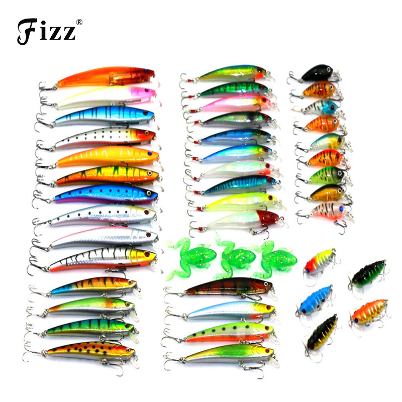 45 Pcs/Pack Mixed 6 Style Fishing Lures Set Minnow/ Crankbait /Soft Frog / Cicada Insect Lure Artificial Bait Fishing Tackle seanlure 101 pcs lure kit free tackle box soft lure glow minnow fly fishing frog grub hook connector clip jig head craw leader