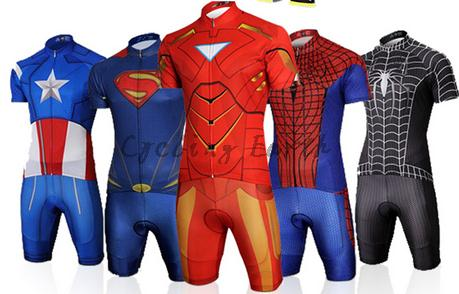 9D pad,Captain America Spiderman Superman Iron Man short sleeve cycling jersey bib shorts set Ropa Ciclismo bicicleta clothes-in Cycling Sets from Sports & Entertainment