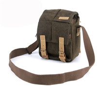 Waterproof Canvas Camera Bag Messenger Shoulder Camping Gadget Bag Backpack With Shockproof Insert Hiking Traveling
