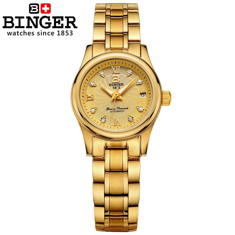 سويسرا بينغر المرأة الساعات luxury18K الذهب الميكانيكية المعصم الكامل الفولاذ المقاوم للصدأ للماء المعصم B 603L 8-في ساعات نسائية من ساعات اليد على  مجموعة 2