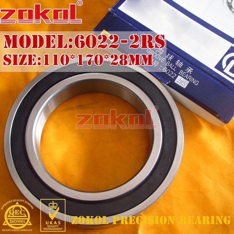 ZOKOL 6022RS bearing 6022 2RS 180122 6022-2RS Deep Groove ball bearing 110*170*28mm zokol 6314 2rs bearing 6314 2rs 180314 deep groove ball bearing 70 150 35mm