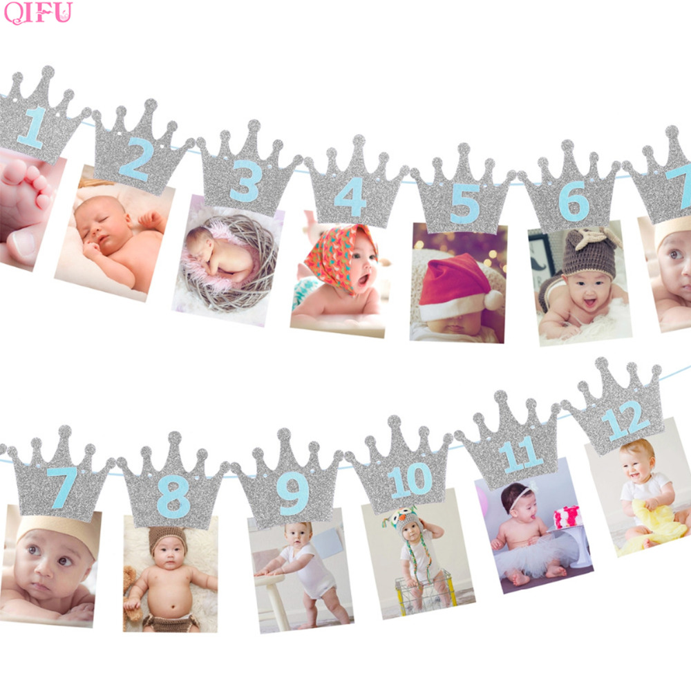 Baby 1st Birthday Banner Flag Monthly ONE Year Bunting Garland Baby Shower Boy Girl First Happy Birthday Party Decorations Kids-in Banners, Streamers & Confetti from Home & Garden