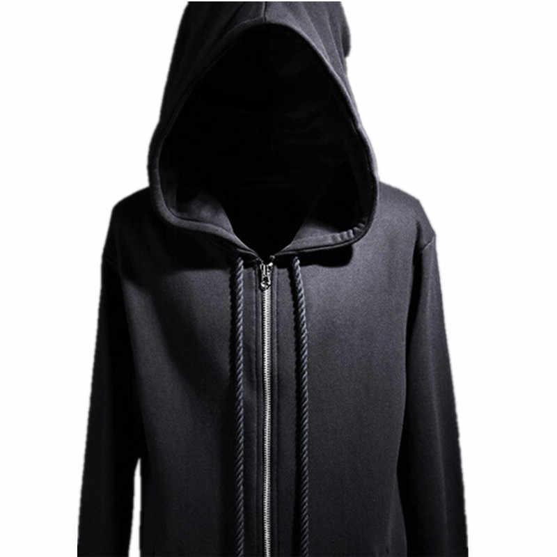 8108c120be 2017 New Fashion Men Sweatshirt Hoody Punk Rock Style Wizard Hat Extended  Side Zipper