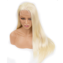 QPhair Heat Resistant Hair Blonde Synthetic Lace Front Wig For Women Side Part Long Silky Straight Half Hand Tied Kanekalon hair