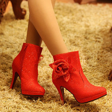 Free shipping winter women's flower decoration ankle boots thin heel platform red high heel shoes