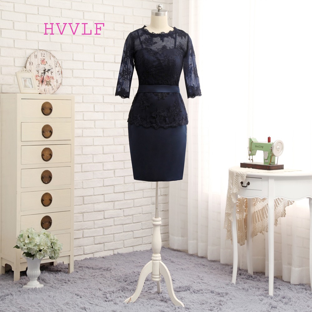 Plus Size Navy Blue 2019 Mother Of The Bride Dresses Sheath 3/4 Sleeves Appliques Wedding Party Dress Mother Dresses For Wedding