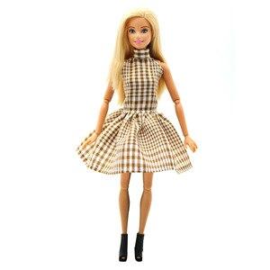 Модная одежда ручной работы для кукол Барби, 3 цвета, клетчатое платье с юбкой, подарок на день рождения, новый год для детей, 1 шт.