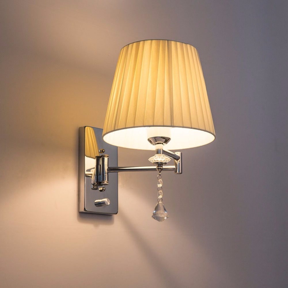 Swing Wall Lamp Hghomeart Swing Arm Wall Lamp E27 Modern Sconce Wall Lights Luminaria Bedside Reading Lamp Crystal Wall Sconce Bathroom Lights In Led Indoor Wall