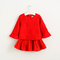 2016 Spring Autumn Baby Girls Flare Sleeve Dresses O-neck Collar Lace Clothes Kids Children Princess Solid Clothing 5pcs/LOT