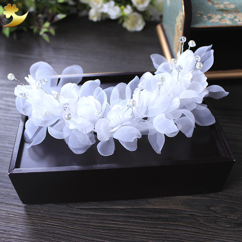 Fashion White Pearl Crystal Bride Hair Band Wedding Headband Hair Accessories Headwear Headpiece Headdress Manufacturer 89323