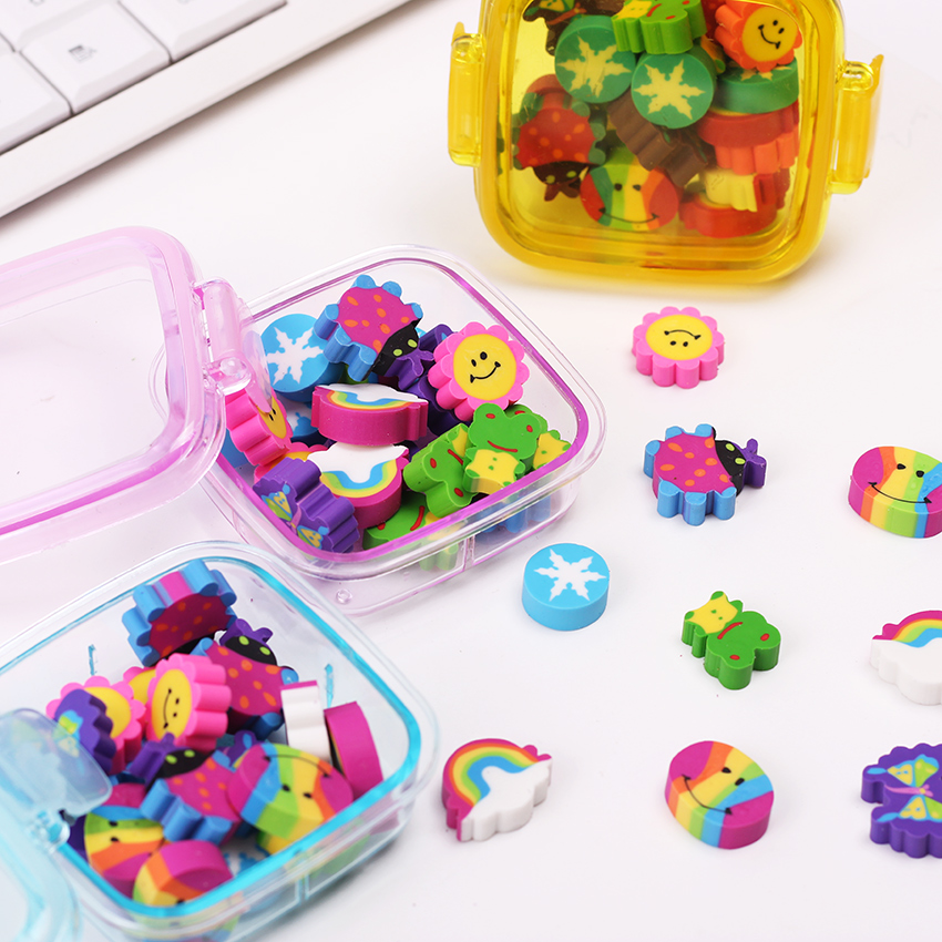 20 Pcs/Pack Lovely Colored Eraser Office Stationery Square Box Eraser for Students Kids Creative Item Gift