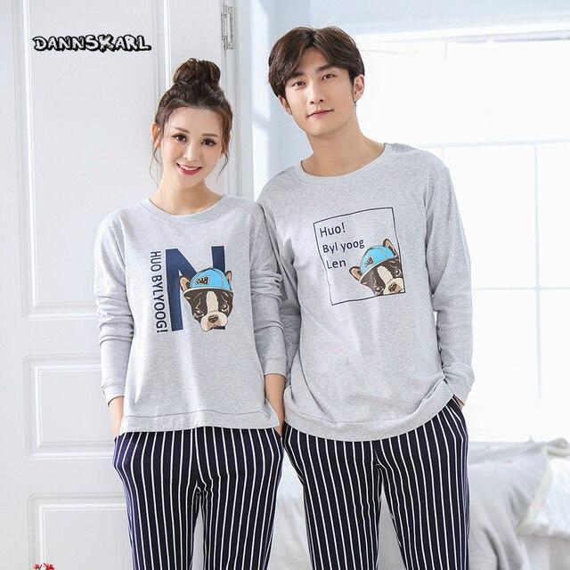 77ed86907d Lovers Pajamas Cotton Long Sleeves Autumn Women Plus Size Pajama Set Cotton  Home Wear Casual Pyjamas For Lovers Couple pajamas