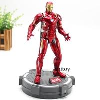 Marvel Civi War Captain America Iron Men Action Figure With Base Toy 18cm Marvel Comics Iron Man Statue Civil War Figure