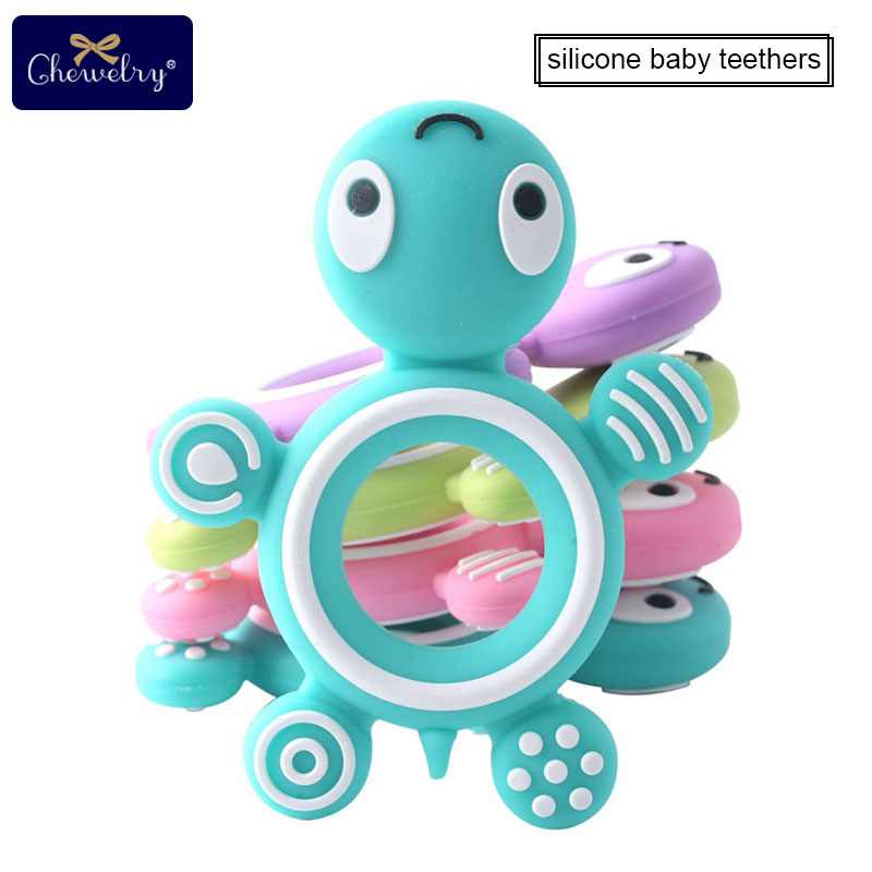 Silicone Baby Teethers Turtle Food Grade Tortoise Silicone Tiny Rod Children's Goods Silicone Bracelet Teether Toys Let's Make