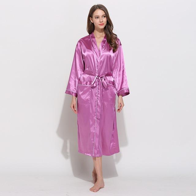 f5afc9df7f Unisex Satin Robes Couples Silk Bathrobe Female Wedding Bride Bridesmaids  Robes Women Night Dressing Gown Men Comfort Nightgown