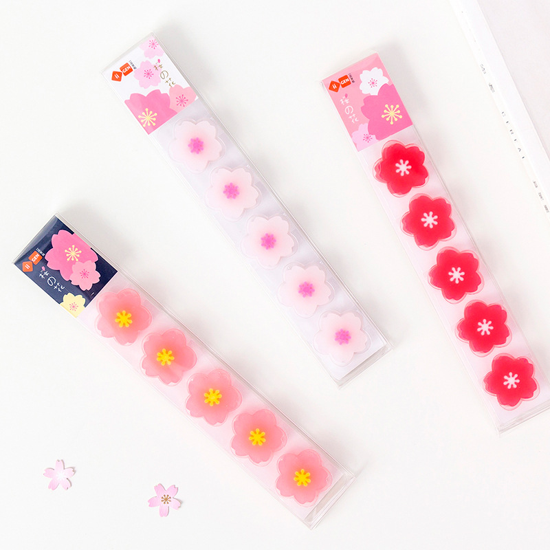5 Pcs/pack Cherry Sakura Study Eraser Rubber Eraser Primary Student Prizes Promotional Gift Stationery