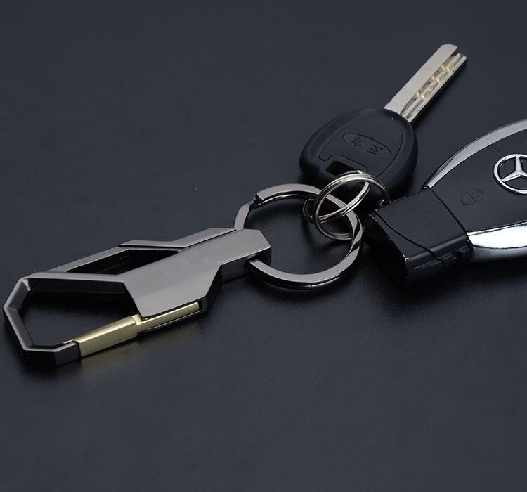 Man/'s métal cuir style classique taille Voiture Porte-clés Porte-clés auto