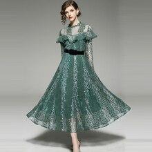e35f0a8a0d6 2018 Printemps femmes new elegance vert dentelle Floral Ruches longue robe  D été de soirée slim lady Robe féminine Douce robes