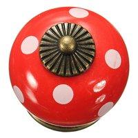 Promotion 10pcs Retro Polka Dot Ceramic Door Knob Cabinet Cupboard Drawer Locker Handles Red