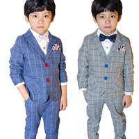Spring Autumnn 3PCS Children Boys Wedding Costume England Style Boys Jacket Vest Pant Blazer Suit Kids