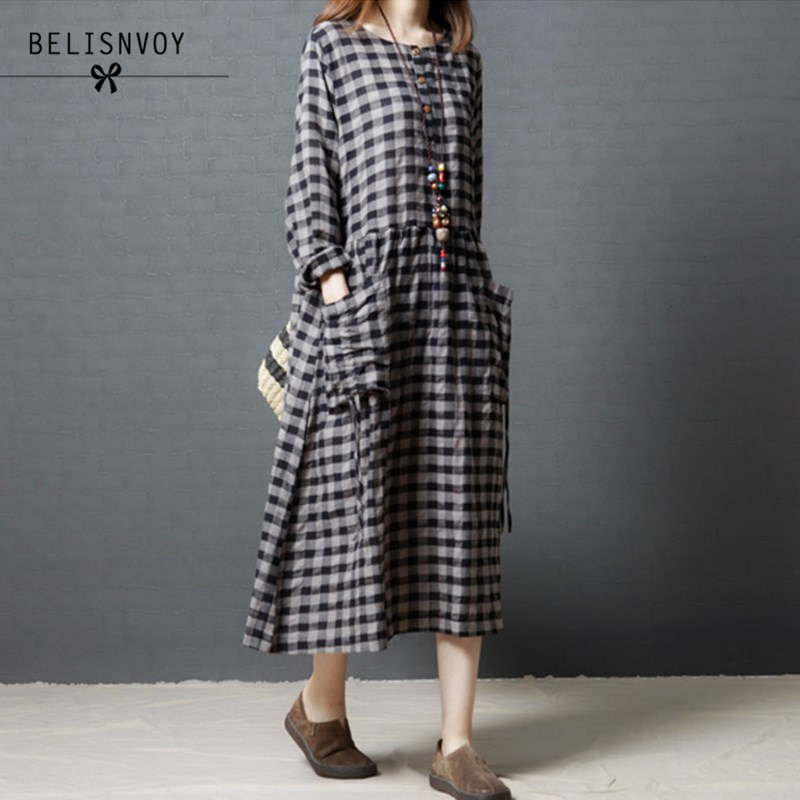 Mori Girl Robe Femme 2017 Autumn Winter Plaid Dress O-neck Long Sleeve Loose Casual Ladies Plus Size Cotton Linen Dresses Tunics
