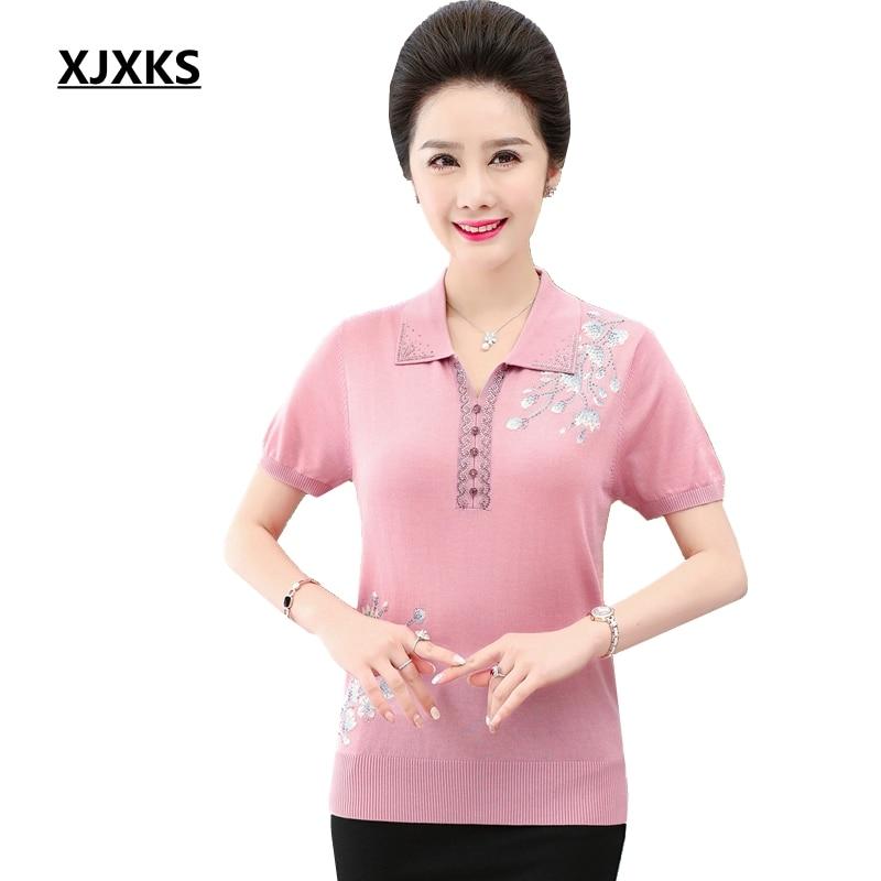 XJXKS 2019 High Quality Knitted Women Oversized T Shirt Summer Casual Short Sleeve Top Soft Linen T Shirt Femme Women Tops