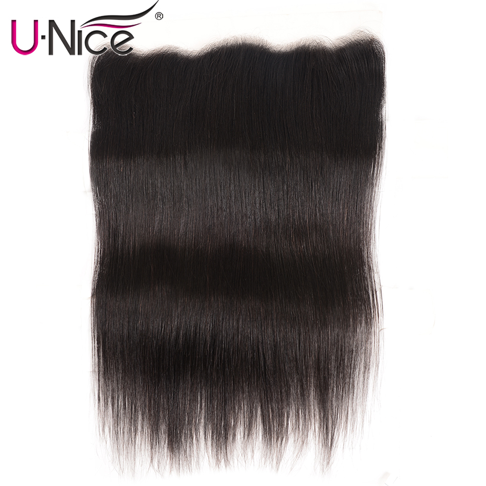 Straight Transparent Lace Frontal Closure 13X4 Free Part 10 18 Inch Pre Plucked Unice Brazilian Straight Human Hair Remy Hair-in Closures from Hair Extensions & Wigs    2