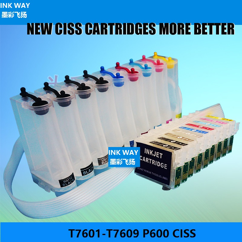 INK WAY T7601-T7609 Chipped Continuous Ink Supply System CISS for Epson P600 surecolor P600 Surecolor SC-P600 printer free shipping for epson surecolor p600 cartridge chip resetter for epson sc p600 resetter t7601 t7609 t760