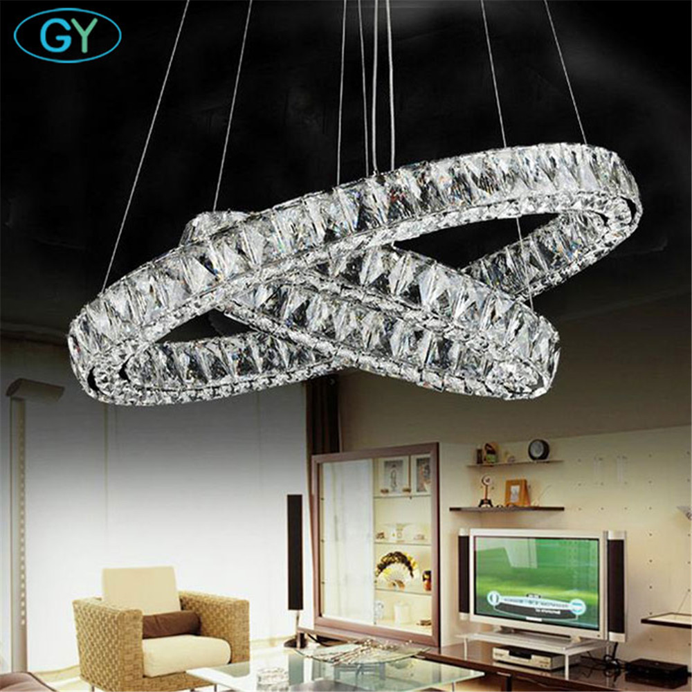 Modern 2 Rings Led Lustres Chandeliers Chrome Mirror Finish