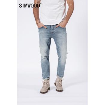 4e306f4f52 SIMWOOD 2019 nueva moda de primavera arrancó lavado Jeans de moda de los  hombres Slim