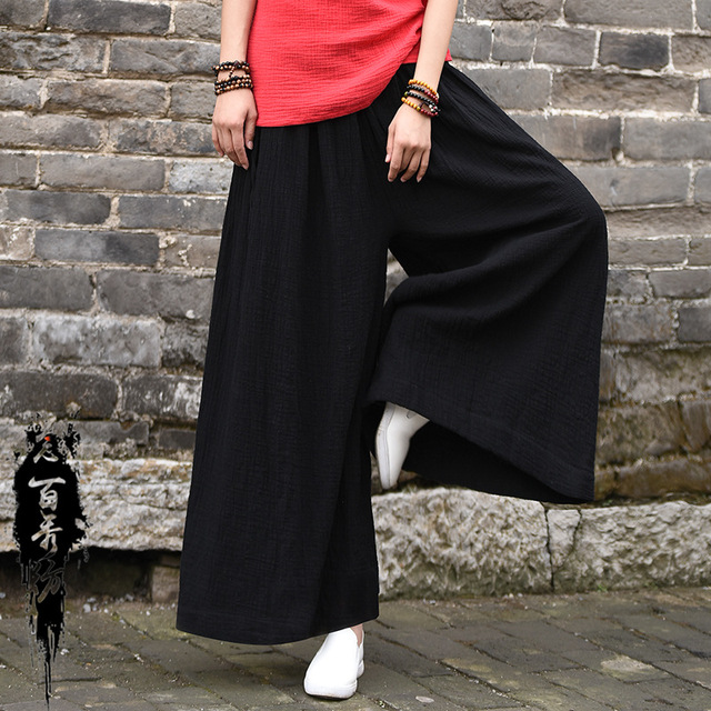 6fcdc3ce22f 2018 Spring Summer Cotton Linen Women Spinning Original Soft Comfortable  Wide-legged Meditative Trousers Ankle