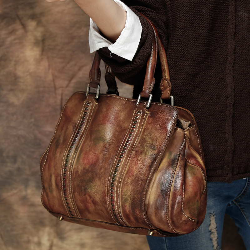2017 vintage handbag handmade Solid women genuine Cow leather casual totes Female Hobos cowhide Rivets shoulder Hand bag luxury genuine leather bag fashion brand designer women handbag cowhide leather shoulder composite bag casual totes