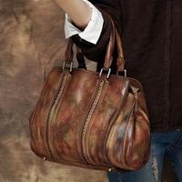 2017 Vintage Handbag Handmade Solid Women Genuine Cow Leather Casual Totes Female Hobos Cowhide Rivets Shoulder