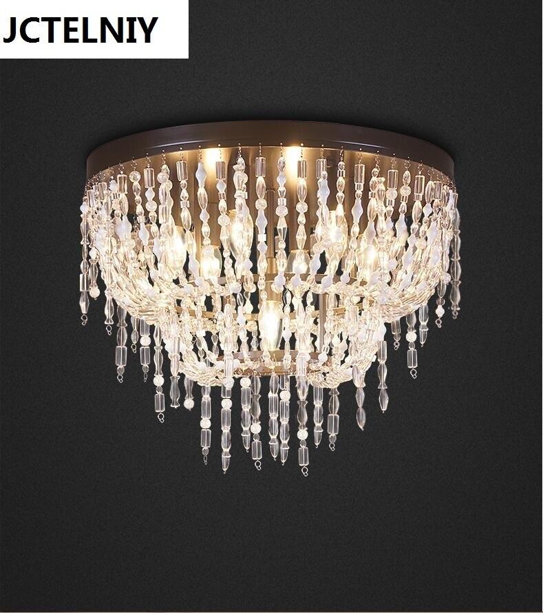 Mode mix match amerikaanse vintage kristal kralen cirkel plafondlamp led verlichting for a thuis