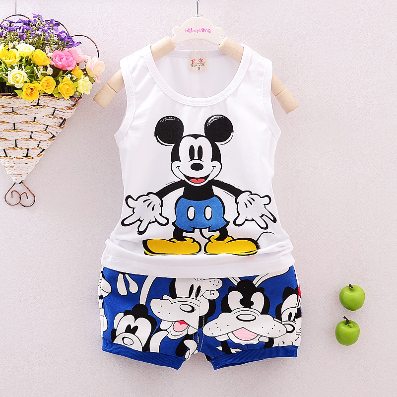 2017 New Baby Boys Clothing Sets 6M-3Y Chidren Cloth Suits Cartoon Vest+Cotton Shorts Kids Summer Cloth For Boys