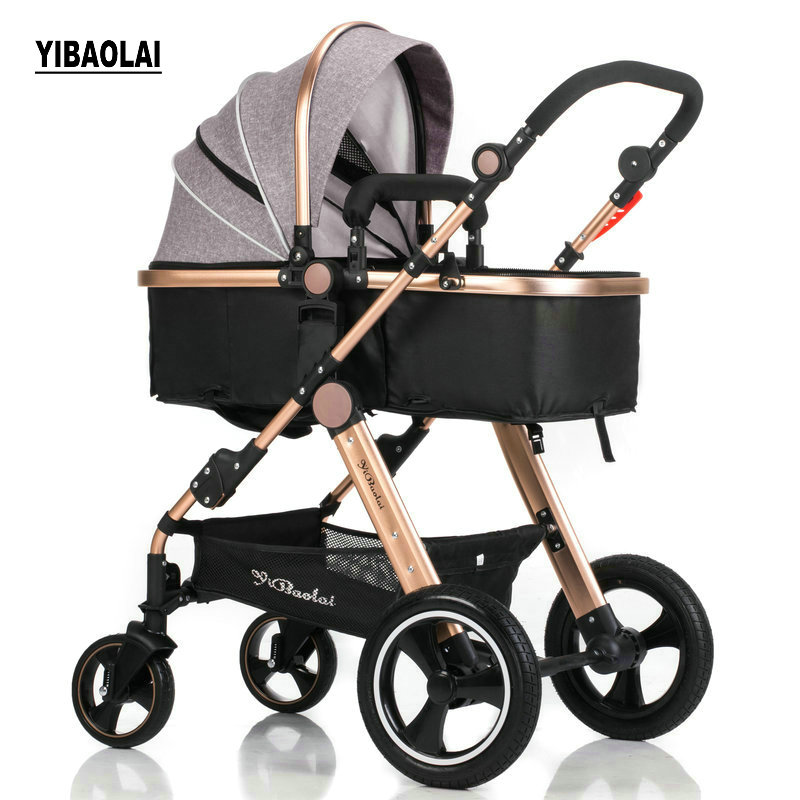 Bébé poussette haute paysage peut être assis peut être plié pliage d'hiver et d'été enfants de chariots lumière bébé chariots