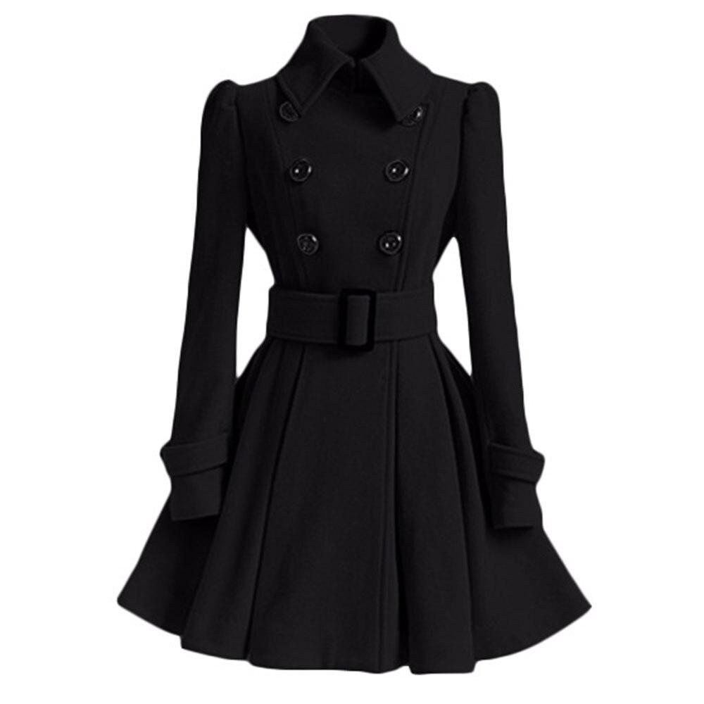 2018 г. осенне-зимние женские пальто Тонкий линии одноцветное Sash двубортный нагрудные шеи средней длины модные теплые пальто Верхняя одежда