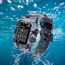 مقاوم للماء صدمة برهان الحال بالنسبة لساعة أبل سلسلة 2 3 4 5 لينة سيليكون الفرقة ل حزام ساعة ذكية آي وتش 44 مللي متر 42 مللي متر حزام غطاء اكسسوارات