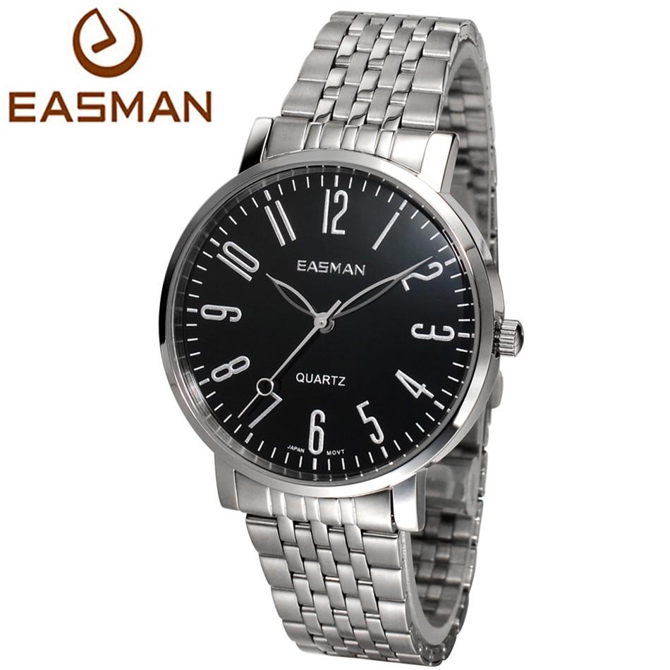 Easman mens watch fashion casual steel band silver black wrist watch men brands quartz watches for Watches brands for men