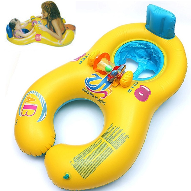 Inflatable baby swimming neck ring mother and child swimming circle double swimming ring ...